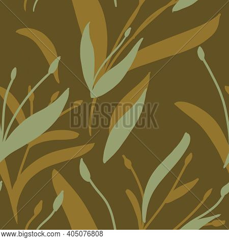 Seamless Pattern With Yellow And Beige Plants And Branches On Brown Background. Elegant Linen, Bedcl