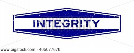 Grunge Blue Integrity Word Hexagon Rubber Seal Stamp On White Background