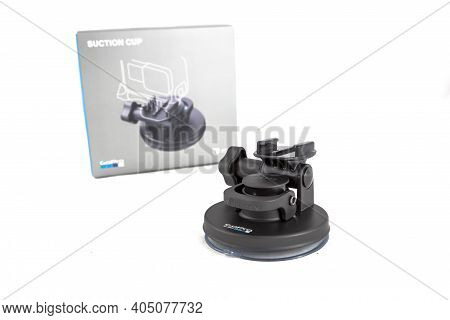 Moscow, Russia - Novemner 11, 2020: Original Accessory Suction Mount Tripod For New Flagship Action