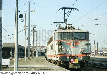 Paris, France - December 24, 2008: Old And Decaying Shunting Electric Locomotive Class Bb88500, Belo
