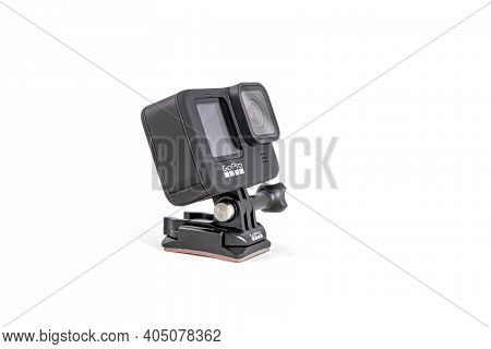 Moscow, Russia - Novemner 11, 2020: New Flagship Action Camera Gopro Hero 9 Black. Side View, Isolat