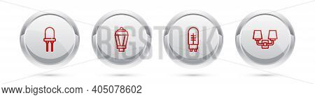 Set Line Light Emitting Diode, Garden Light Lamp, And Wall Or Sconce. Silver Circle Button. Vector