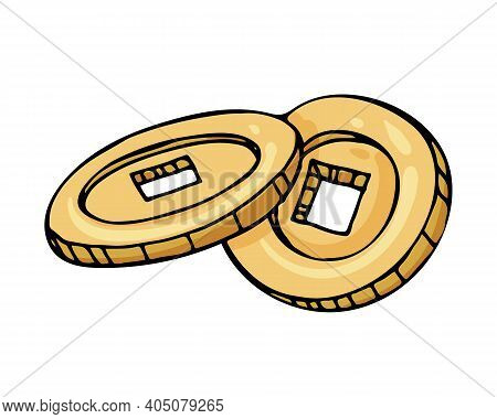 Two Chinese Gold Coins With A Square Hole. Vector Illustration. A Talisman For Good Luck, Wealth And