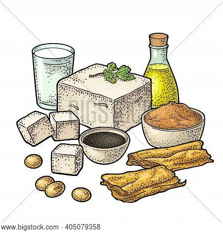 Soy Food Set. Miso, Tofu, Skin, Soybean, Oil, Milk, Sauce In A Bottle And Bowl.