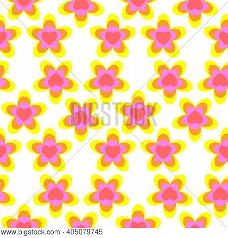 Seamless Pattern From Flowers And Hearts, Background. Spring, Summer Colors. Motley Flat Design For