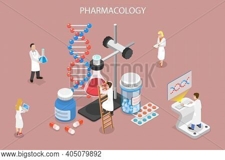 3d Isometric Flat Vector Conceptual Illustration Of Pharmacology.