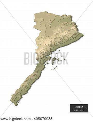 Eritrea Map - 3d Digital High-altitude Topographic Map. 3d Vector Illustration. Colored Relief, Rugg
