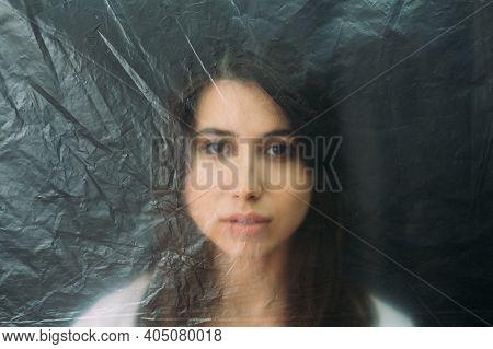 Female Rights. Defocused Portrait. Social Isolation. Discrimination Loneliness. Vulnerable Woman Fac