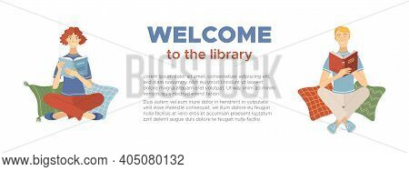 Welcome To The Library Banner. Smiling Man And Woman Reading Books While Sitting On Pillows Vector I