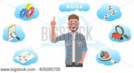 3d Vector Illustration Of Agile Software Development Methodology.