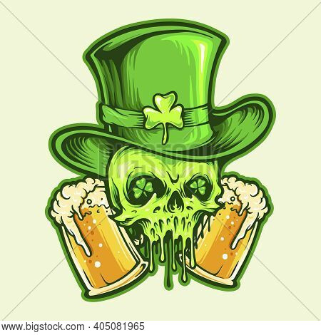 St Patrick Skull With Two Glasses Beer Illustrations For Your Work Logo, Mascot Merchandise T-shirt,