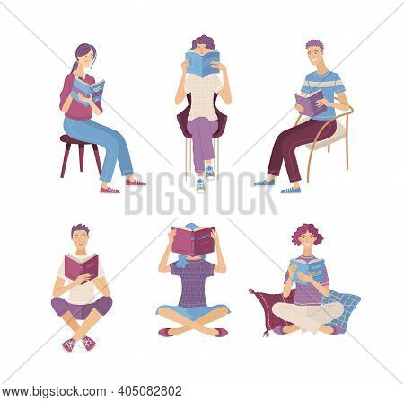 People Reading Books While Sitting On Floor And In Chairs. Happy Young Men And Women Holding Books C