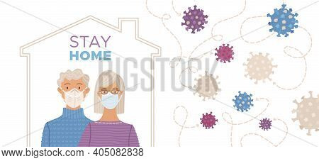 Stay Home Concept With Aged Couple Wearing Medical Masks. Coronavirus Protection And Prevention Soci
