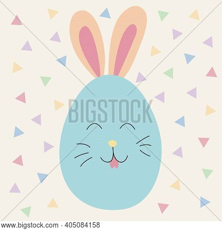 Happy Easter. Easter Egg With Bunny Ears. Pastel Colors. Colored Egg For Easter Holiday. Easter Deco