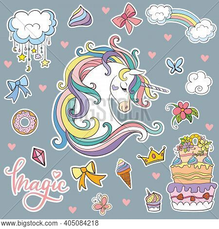 Set Of Cute Cartoon Unicorn With Magic Elements. Vector Isolated Illustration. For Postcard, Posters