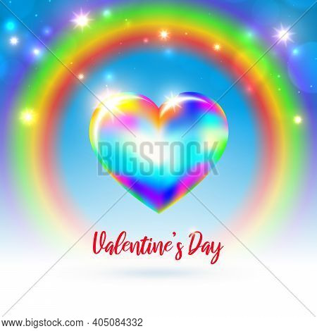 Valentine's Day Lgbt Card. Rainbow Shining Heart On Rainbow Background With Bokeh And Lights. Happy