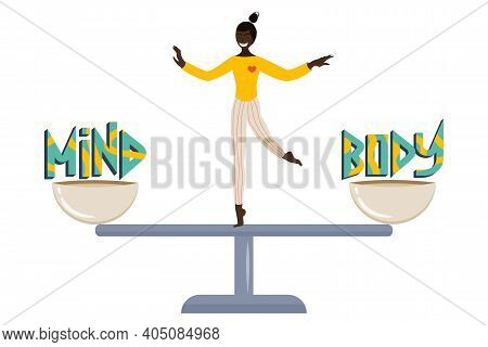 The Concept Of Mind-body Balance In A Flat Cartoon Style Is Isolated On A White Background. Two Bowl