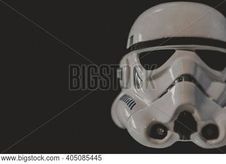 JAN 25 2021: close up of an Imperial Stormtrooper helmet also known as a bucket - shallow depth of field