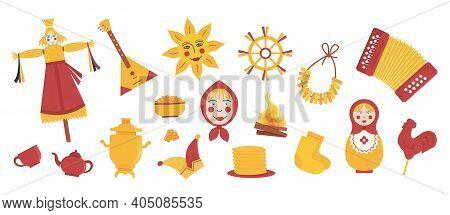 Set Of Elements For Maslenitsa Pancake Week. Doll In Ethnic Dress With Straw Head. Samovar, Accordio