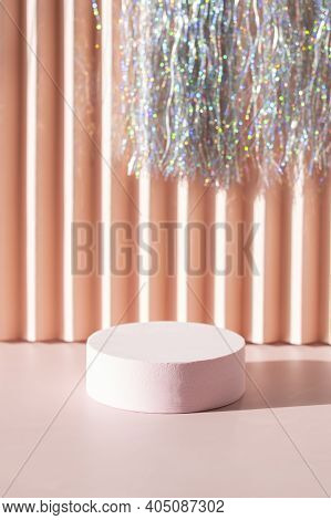 Coral Pink Podium With Silver Tinsel Background Monochrome Stage For Product Promotion