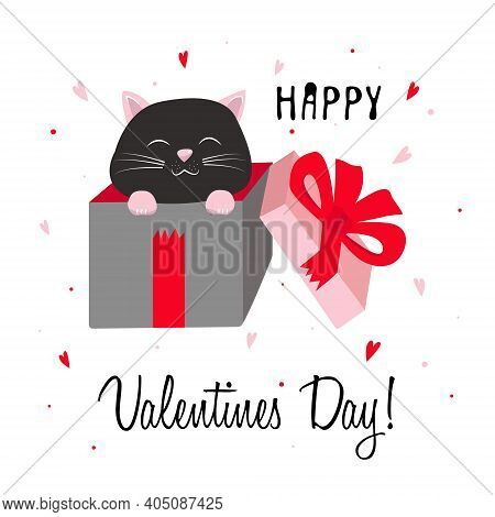 Valentines Day Greeting Card. Cute Black Cat Inside Pink Giftbox With Red Bow. Cute Cartoon Kawaii F