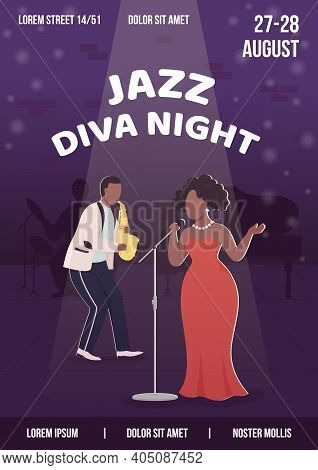 Jazz Diva Night Poster Flat Vector Template. Special Evening Perfomance. Brochure, Booklet One Page
