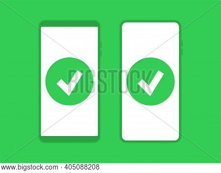 The Icon Of A Completed Task. The Verified Notebook Symbol. Completed Phone Test Sign. Vector Illust
