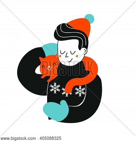 Man With Cat. Boy In Winter Sweater Hold Cat On Shoulders. Pets Lover Illustration. Animal Friends C