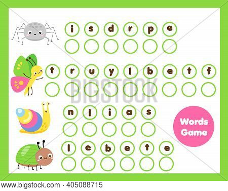 Insects Crossword For Kids And Toddlers. Words Learning Activity. Educational Game For Children.