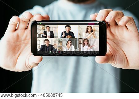 Video Conference. Virtual Meeting. Online Communication. Wfh Telework. Man Hands Showing Diverse Mul