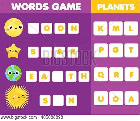 Educational Game For Children. Word Puzzle Kids Activity. Space And Planets Learning Fun For Toddler