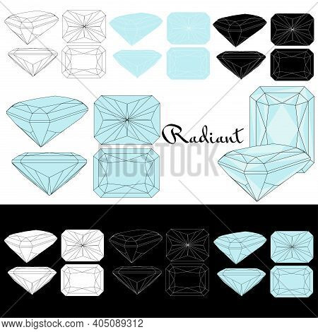 Radiant Cut. Types Of Diamond Cut. Four Sides Of Jewelry With Facets For Background, Carving And Col