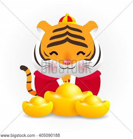 Little Tiger With Holding Chinese Gold Ingots And Happy Chinese New Year 2022 Year Of The Tiger Zodi