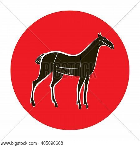 Black And White Graceful Horse Silhouette. Stylish Horse Outline On Red Circle Background. Idea For