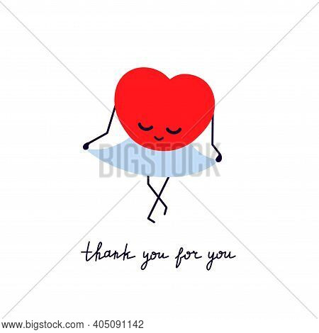 Thank You For You. Red Smiling Heart In A Blue Skirt. Bow In Gratitude. Greeting Card With Cute Kawa