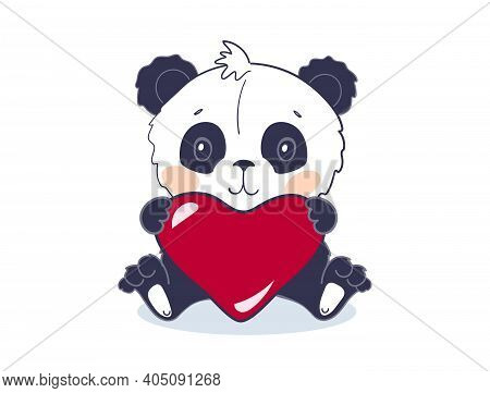 A Cute Panda Bear Sits And Holds A Big Red Heart. A Cute Animal Or Toy For Valentine S Day. Vector I