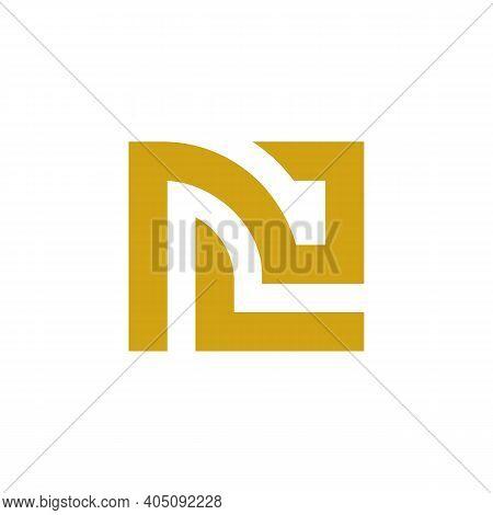Initial Letter Nc Or Cn Logo Design, Gold And White Color, Minimal Monogram Illustration