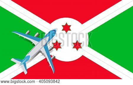 Vector Illustration Of A Passenger Plane Flying Over The Flag Of Burundi. The Concept Of Tourism And