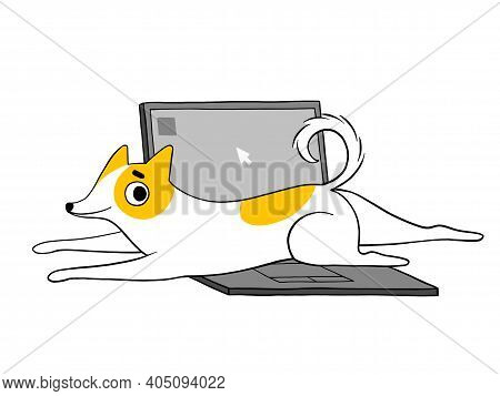 A Funny Dog Is Lying On A Laptop, Calling To Play And Does Not Allow Work. A Cute Puppy With Bad Beh