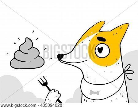 The Funny Dog Loves To Pick Up And Eat Poop. The Problem Of Puppy Training And Bad Behavior