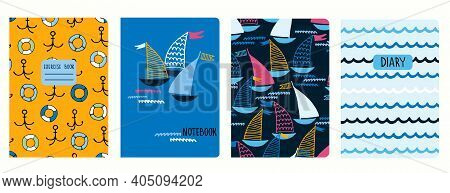 Set Of Cover Page Vector Templates With Sailing Boats, Anchors, Lifesavers, Waves. Based On Seamless