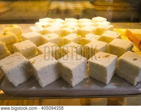 Bengal Sandesh Or Sondesh Made Of Milk Kheer Displayed In A Sweet Shop At Bagdogra, West Bengal, Ind