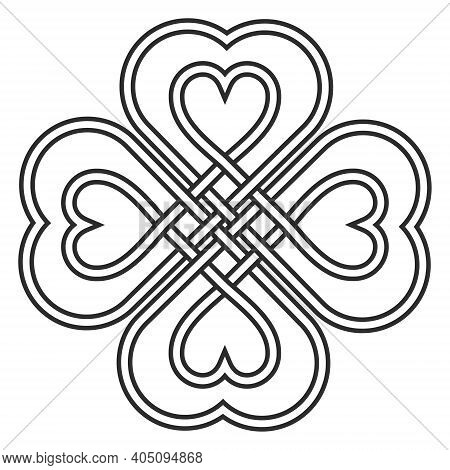 Celtic Heart Knot In The Shape Of A Clover Leaf Bringing Good Luck And Love Vector Knitted Heart Kno