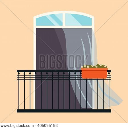 Balcony With Flowerpots. Large Window With Curtains And Open Shutters Vector Illustration. Window Ov