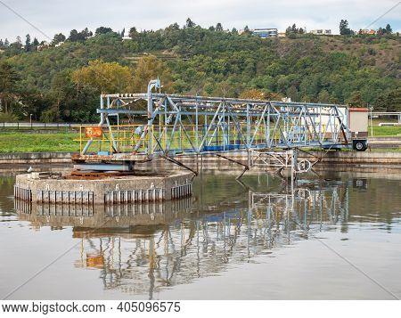 Origin Town Wastewater And Sewage Treatment Plant With Circle Aeration Tanks. Sedimentation Tank. Wa