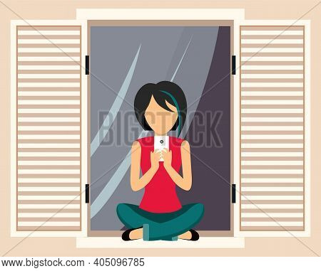 Girl Sitting On The Windowsill By The Open Window Talking On The Phone, Doing Selfie Photo, Tenant I