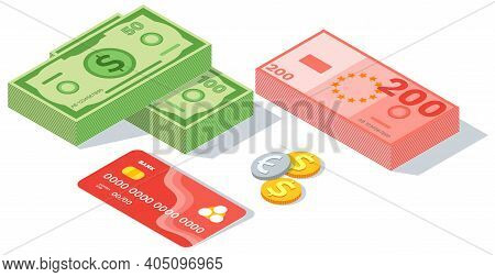 Means Of Payment Various Elements. Concept Of Big Money. Big Pile Of Cash. Credit Bank Card, Metal C