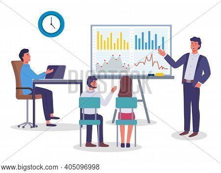 Businessman Showing Presentation With Graph, Chart On Board. Cartoon Character Presenting Financial