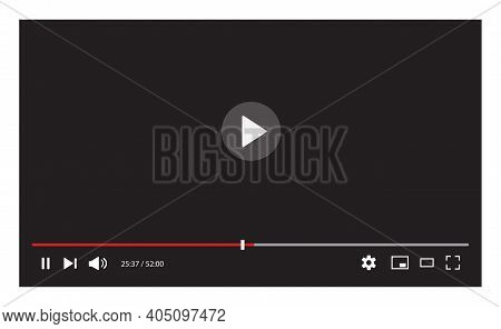 Video Player Interface Isolated On White Background. Video Streaming Template Design For Website And