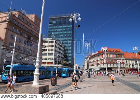 Zagreb, Croatia - June 30, 2019: People Visit Trg Bana Jelacica Square In Zagreb, Capital City Of Cr
